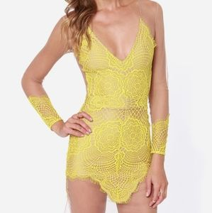 NEW For Love & Lemons Antigua Yellow Nude Lace…